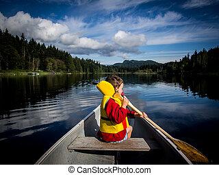kind, canoeing, auf, see