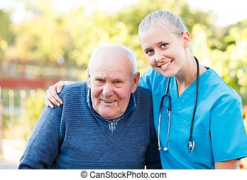 Kind doctor with patient