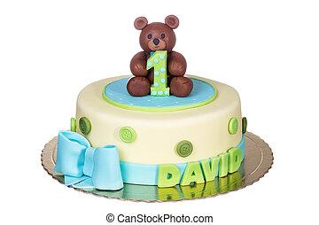 kind, een, year., prachtig, birthday., taart
