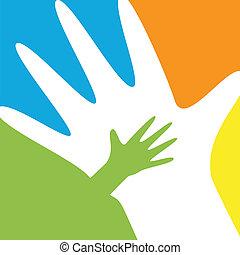 kind, en, ouder, handen