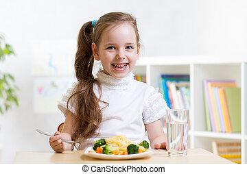 kind, essende, gesundes essen, hause