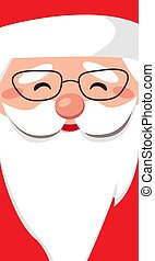 Kind face santa claus with glasses. Cheerful portrait with copy space on a white beard. Merry Christmas and Happy new year. Vector flat illustration. Design for greeting card, banner, poster