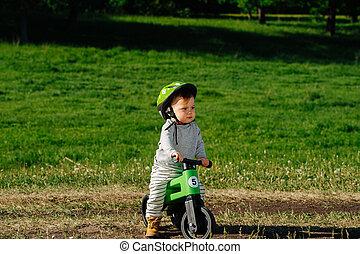 kind, fahrrad, mürrisch, reiten, fuß, three-wheel, wenig