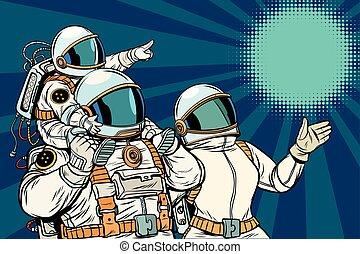 kind, familie, vater, astronauten, mutter