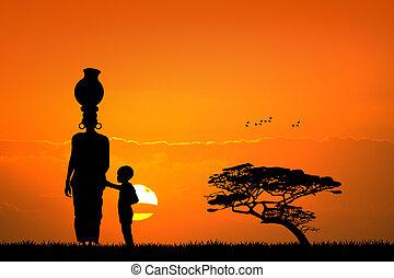 kind, frau, landschaftsbild, afrikanisch