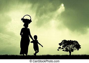 kind, frau, sonnenuntergang, afrikanisch