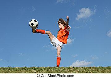 kind, fußball, oder, fußball, spielende