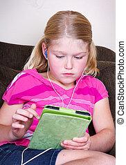 kind, gebruik, een, tablet