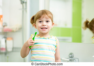 kind, geitje, meisje, borstelende teeth, in, badkamer