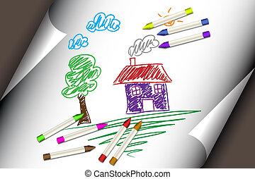 kind, geitjes, tekening, van, een, woning, of, thuis