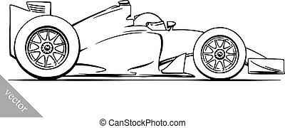 kind, gekke , spotprent, formule, de auto van het ras, vector, illustratie, kunst