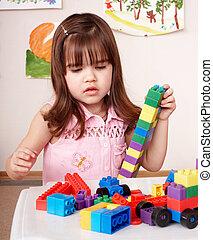 kind gespeel, gebouw stel, in, toneelstuk, room.