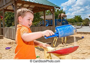 kind gespeel, in, sandbox