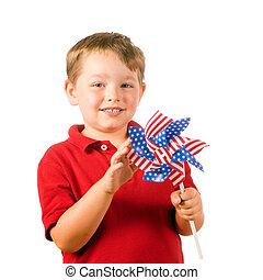 kind gespeel, met, amerikaanse vlag, pinwheel, om te vieren, onafhankelijkheid dag, op, four juli, vrijstaand, op wit