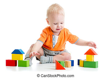 kind gespeel, met, blok, speelgoed