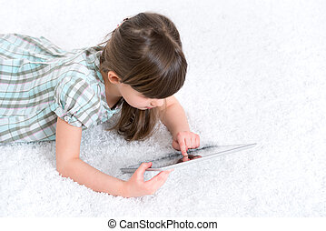 kind gespeel, met, digitaal tablet