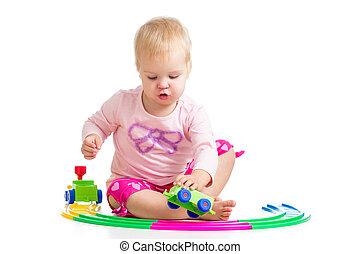 kind gespeel, met, speelbal