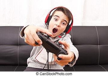 kind gespeel, met, wedstrijd console