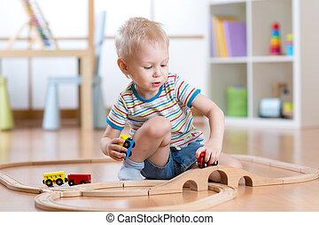 kind gespeel, varen straat uit, speelbal, in, babykamer
