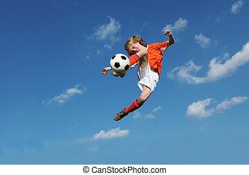 kind gespeel, voetbal, of, voetbal