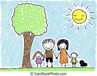 kind, gezin, tekening