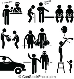 A set of pictograms representing a kind man helping people in need.