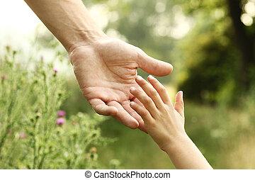 kind, hände, elternteil, natur