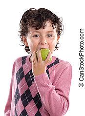 kind, het bijten, een, appel