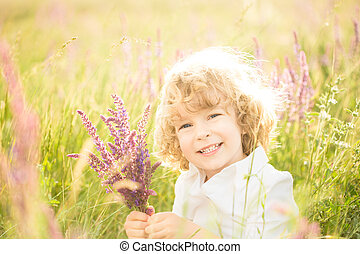 kind, het houden bloemen