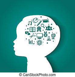 kind, hoofd, met, opleiding, iconen