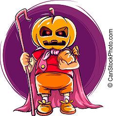 kind, in, kostüm halloween, mit, kã¼rbis, kopf
