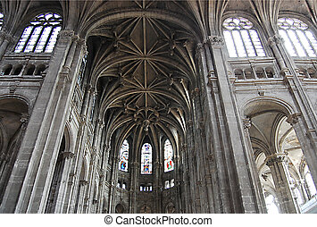 Kind inside in a Gothic cathedral of Paris