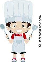 kind, junge, als, küchenchef, besitz, a, besitz, küchenutensilien