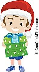 kind, junge, besitz, a, weihnachtsgeschenk