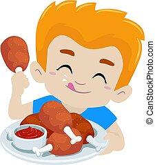 kind, junge, essende, gebratenes huhn