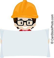kind, junge, ingenieur, besitz, a, leer, rgeöffnete, papier