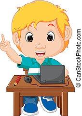 kind, junge, verwenden computers, karikatur