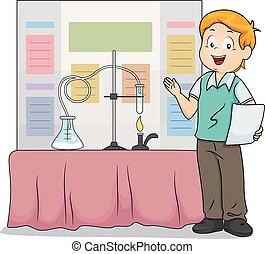 kind, junge, wissenschaft, messe, darstellung, abbildung