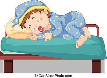 kind, junger, bett, eingeschlafen