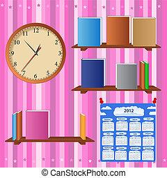 kind, kamer, met, boek shelves, klok, en, kalender