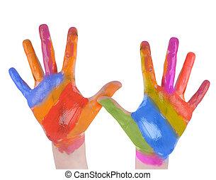 kind, kunst, handen, geverfde, op wit, ba
