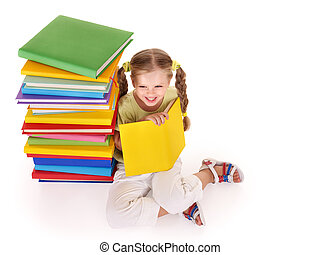 kind, lezende , stapel, van, books.