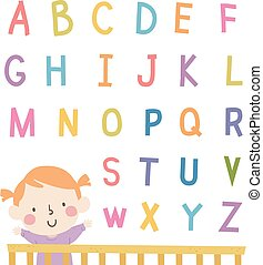kind, m�dchen, baby, alphabet, kinderwiege, abbildung