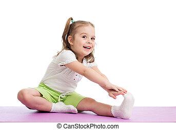 kind, m�dchen, machen, fitness, übungen