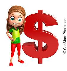 kind, m�dchen, mit, dollarzeichen