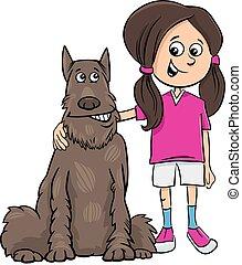 kind, m�dchen, mit, hund, karikatur, abbildung