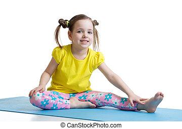kind, machen, fitness, übungen, freigestellt