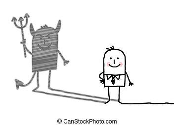kind man with devil shadow