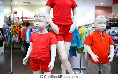 kind, mannequins, in, kaufmannsladen