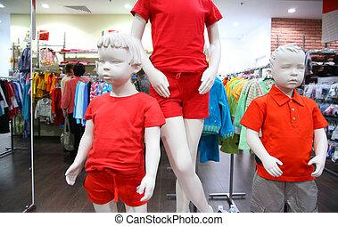 kind, mannequins, in, winkel
